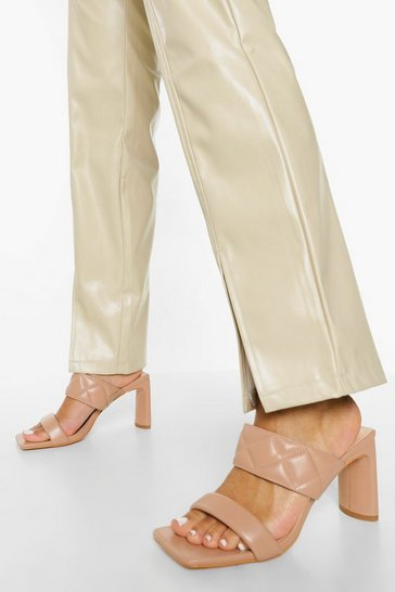 Camel beige Quilted Double Strap Mule