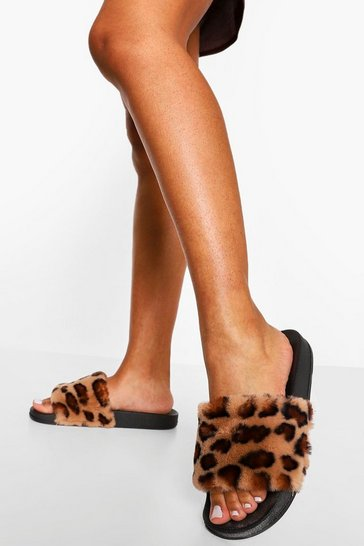 Leopard multi Fur Slider