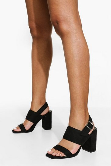 Black Double Strap Heeled Sandal