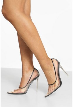 Black Clear Pointed Court Shoes