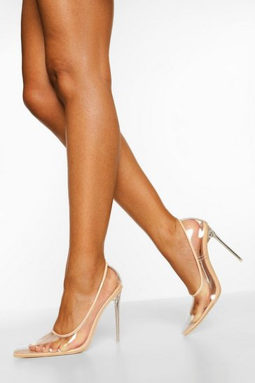Nude Clear Pointed Court Shoes