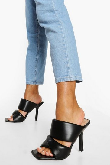 Black Soft Double Strap Mule