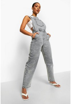 Grey Washed Straight Leg Dungaree