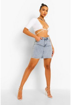 Ice blue Vintage Washed  Denim Skirt