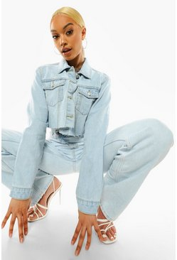 Light blue blue Pocket Raw Hem Crop Denim Jacket
