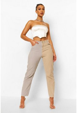 Light grey grey Contrast Cord Relaxed Straight Leg Jean