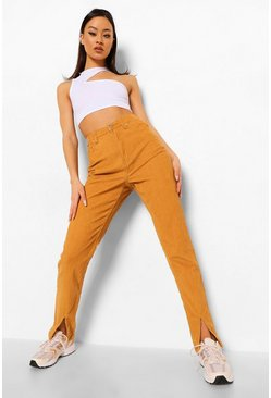 Tan brown Cord Split Hem Trouser