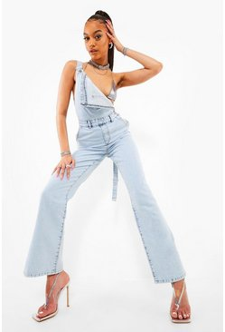 Ice blue Washed Split Hem Dungaree