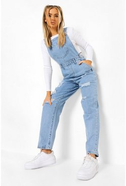 Ice blue Acid Wash Distressed Overall