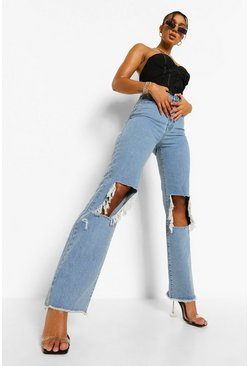 Light blue blue Distressed Open Knee Boyfriend Jean