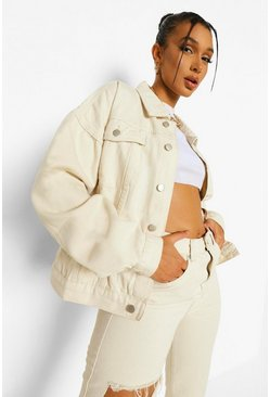 Ecru white Washed Oversized Rigid Denim Jacket