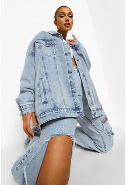 Ice blue Vintage Washed Oversized Jacket