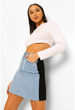 Ice blue Colour Block Denim Mini Skirt