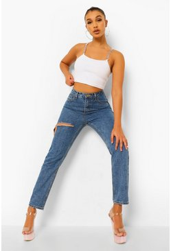 Vintage blue blue High Waist Rigid Mom Jeans