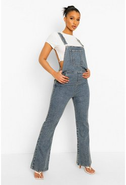 Vintage Wash Flared Dungaree