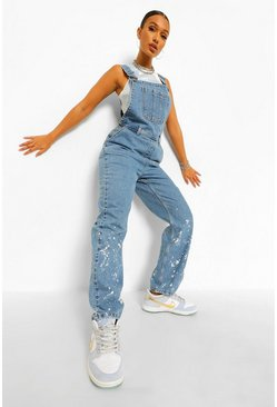 Mid blue blue Paint Splatter Print Overall Jean