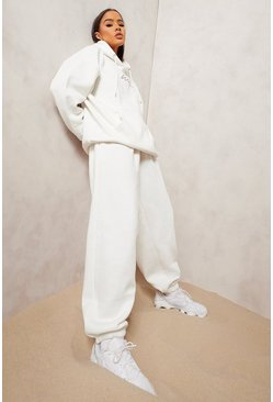 Ecru white Oversized Woman Embroidered Hooded Tracksuit