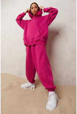Pink Oversized Woman Embroidered Hooded Tracksuit