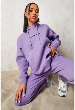 Purple Woman Embroidered Hooded Tracksuit
