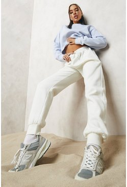 Ecru white Woman Embroidered Regular Jogger