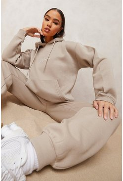 Taupe beige Woman Embroidered Hooded Tracksuit