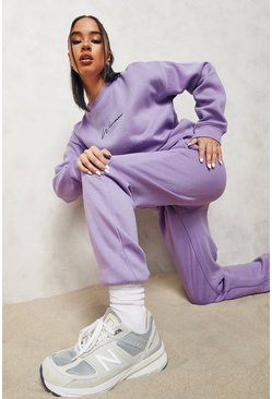 Purple Woman Embroidered Sweater Tracksuit