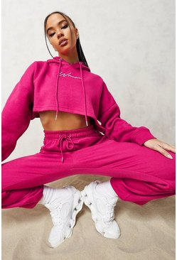 Pink Woman Embroidered Cropped Tracksuit
