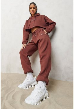 Chocolate brown Woman Embroidered Cropped Tracksuit