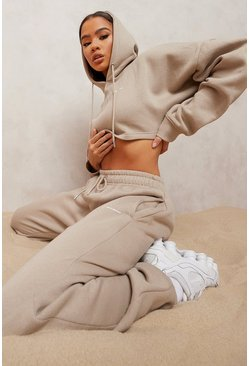 Taupe beige Woman Embroidered Cropped Tracksuit