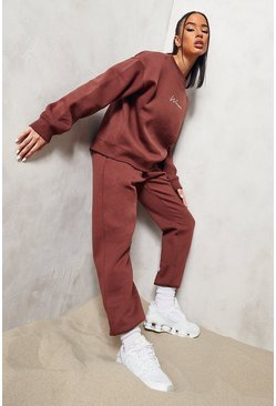 Chocolate brown Woman Embroidered Sweater Tracksuit