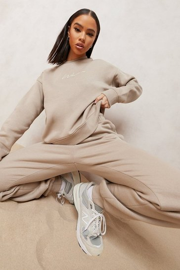 Taupe beige Woman Embroidered Sweater Tracksuit