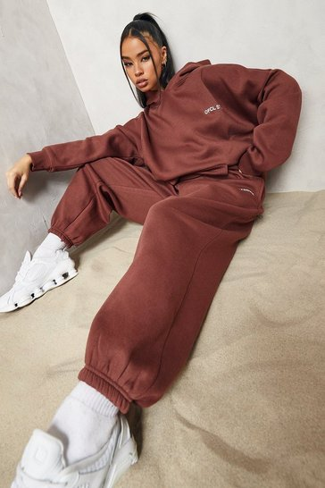 Chocolate brown Oversized  Embroidered Hooded Tracksuit