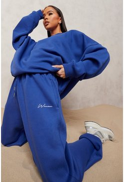 Cobalt blue Oversized Woman Embroidered Sweater Tracksuit