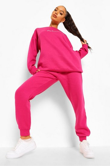 Pink Oversized Woman Embroidered Sweater Tracksuit