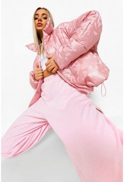 Pink Reflective Camo Funnel Neck Puffer Jacket