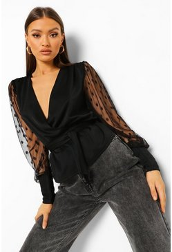 Black Dobby Mesh Sleeve Wrap Peplum Top