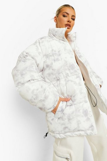 White Marble Print Oversized Puffer Jacket