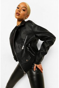 Black Croc Faux Leather Belted Biker Jacket