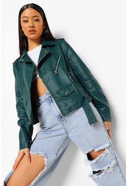 Dark green green Croc Faux Leather Belted Moto Jacket