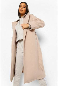 Stone beige Belted Wool Look Trench Coat
