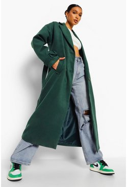 Green Wool Look Belted Cuff Detail Trench
