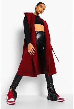 Burgundy red Belted Wool Look Sleeveless Midi Coat