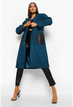 Dusty blue blue Wool Look Pu Pocket Midi Coat