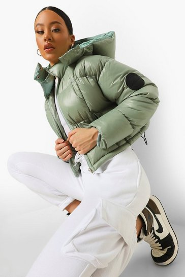 Sage green Tonal Contrast Quilted Puffer