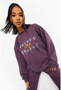 Sweat oversize à inscription, Purple violet