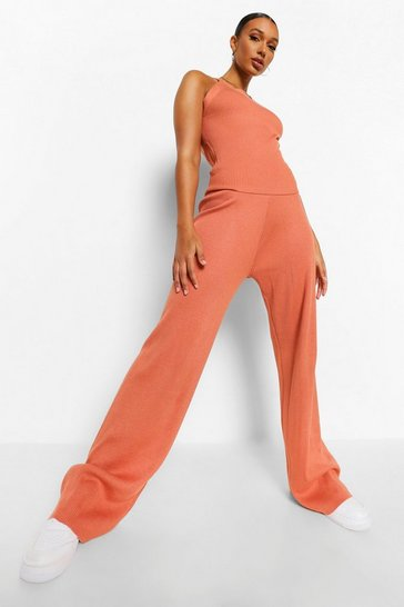 Burnt orange orange Racer Neck Rib Knit Co-ord