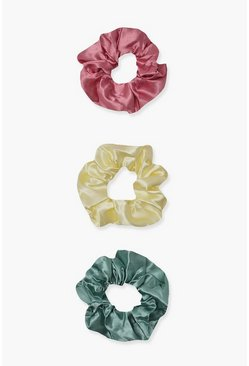 Pink 3 Pack Satin Scrunchies Pastel Mix