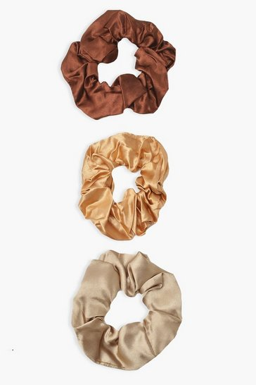 Chocolate brown 3 Pack Choco Satin Scrunchies