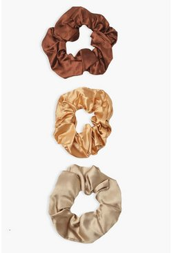 3 Pack Choco Satin Scrunchies, Chocolate Коричневый