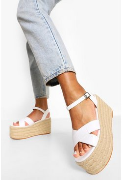 White Croc Chunky Crossover Wedge